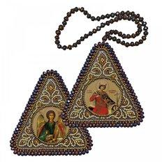 фото: икона, вышитая бисером на пластиковой основе Св. Мц. Катерина и Ангел Хранитель