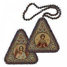 фото: икона, вышитая бисером на пластиковой основе Св. Мц. Надежда и Ангел Хранитель