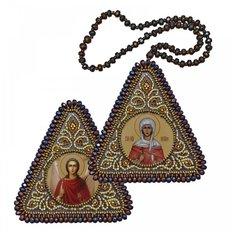 фото: икона, вышитая бисером на пластиковой основе Св. Мц. Наталья и Ангел Хранитель