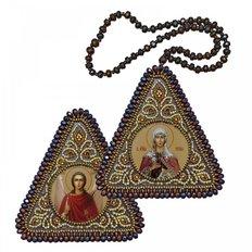 фото: икона, вышитая бисером на пластиковой основе Св. Мц. Татиана и Ангел Хранитель