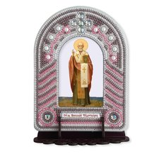 изображение: икона, в вышитой бисером в рамке-киоте Николай Чудотворец