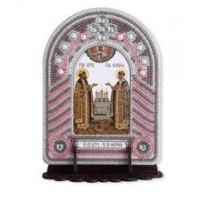 изображение: икона, в вышитой бисером в рамке-киоте Святые Пётр и Февронья