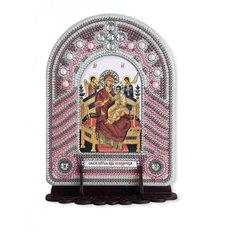 изображение: икона, в вышитой бисером в рамке-киоте Богородица Всецарица