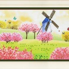 фото: картина для вышивки нитками летний пейзаж, мельница, бабочки