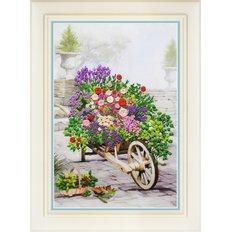 фото: картина для вышивки нитками, цветы в тачке