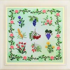 фото: картина для вышивки нитками, цветы и травы