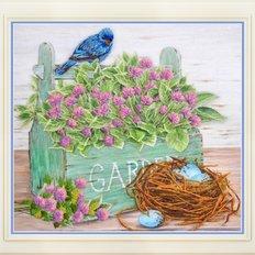 фото: картина для вышивки нитками, цветы и птичье гнездо