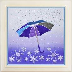 фото: картина для вышивки нитками, зимний зонтик