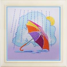 фото: картина для вышивки нитками, весенний зонтик
