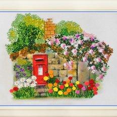 фото: картина для вышивки нитками, цветущий сад