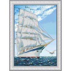 фото: картина для вышивки крестом на фоновой канве парусник