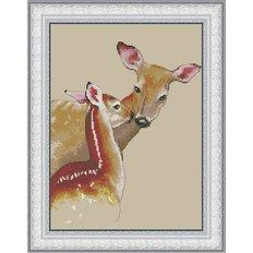 фото: картина для вышивки крестиком, Олененок с мамой