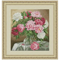фото: картина для вышивки крестиком, Букет пионов