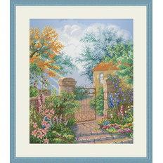 фото: картина, вышитая крестом Калитка в сад