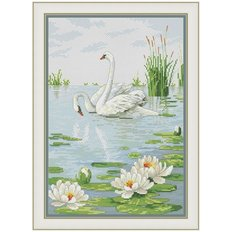 фото: картина для вышивки крестом Пара лебедей