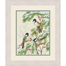 фото: картина, вышитая крестом, Зимние птицы синицы
