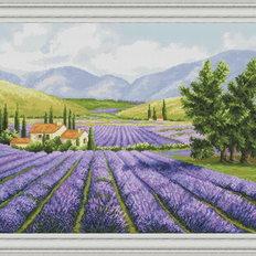 фото: картина, вышитая крестом, Лавандовые поля