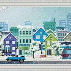 фото: картина, вышитая крестом, Зимний городок