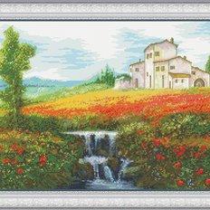 фото: картина для вышивки крестом поле маков, домик и родник