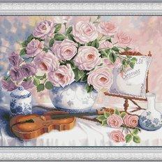 фото: картина для вышивки крестом букет роз, скрипка и пюпитр