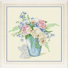 фото: картина для вышивки крестиком орхидеи в вазе