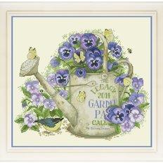 фото: картина для вышивки крестиком цветы анютины глазки в лейке