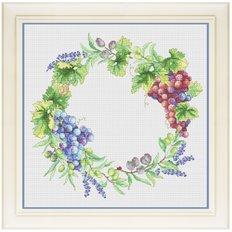 фото: картина для вышивки крестом венок из винограда