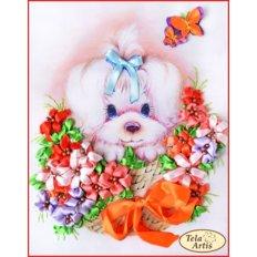 Набор для вышивания лентами Щенок в цветах
