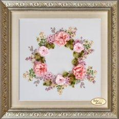 фото: картина для вышивки лентами Весенний венок