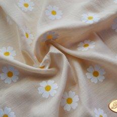 Ткань для задника подушки, светло-бежевый лен с ромашками