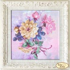 фото: картина, вышитая бисером, Розовые грёзы