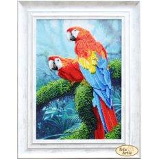 фото: картина, вышитая бисером, Попугаи Ара
