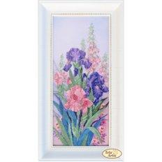 фото: картина для вышивки бисером розовые и фиолетовые ирисы