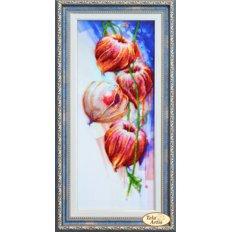 фото: картина для вышивки бисером с аппликацией Физалис