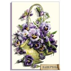 фото: картина папертоль, корзинка и цветы анютины глазки