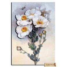 фото: картина папертоль белые пионы, белые цветы