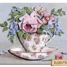 фото: картина папертоль, чашка с цветами