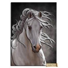 фото: картина папертоль белая лошадь