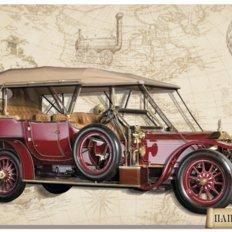 фото: картина в технике папертоль Rolls-Royce (красный)
