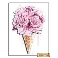 фото: картина в технике папертоль Розовый рожок