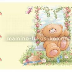 Схема для вышивки бисером Медвежонок на качели