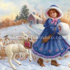 Схема для вышивки бисером Зимняя прогулка