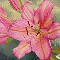 фото: картина для вышивки бисером розовая лилия