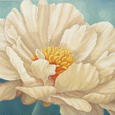 фото: картина для вышивки бисером белый пион, белый цветок, круговая техника, полная зашивка