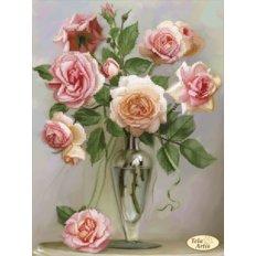 фото: картина для вышивки бисером букет розовых роз в изящной вазе