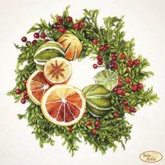 фото: картина для вышивки бисером, Венок с грейпфрутом