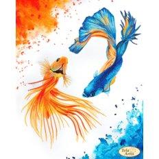фото: картина, вышитая бисером, Золотые рыбки