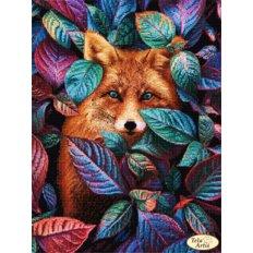 фото: картина, вышитая бисером, Лисьи прятки
