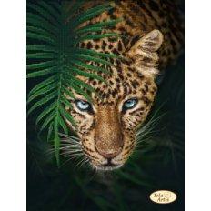фото: картина, вышитая бисером, Ягуар в джунглях