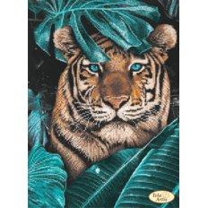 фото: картина, вышитая бисером, Тигр в джунглях